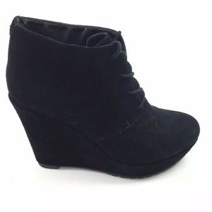 Aldo Womens Size 9 Black Nubuck Wedge Booties